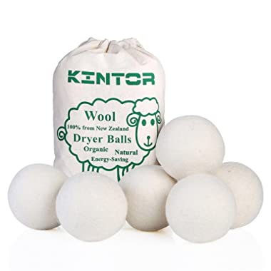 KINTOR Wool Dryer Balls XL 6 Pack 2.95 , 100% New Zealand Wool Organic Fabric Softener, Hypoallergenic Baby Safe & Unscented, Chemical Free to Reduce Wrinkles & Static Cling, Shorten Drying Time