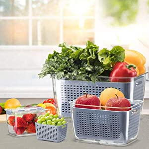 Fresh Produce Saver Veggie Fruit Storage Containers for Refrigerator, Fridge Storage Container/Organizer Bins, Draining Crisper with Strainers (0.48L+1.7L+4.5L)