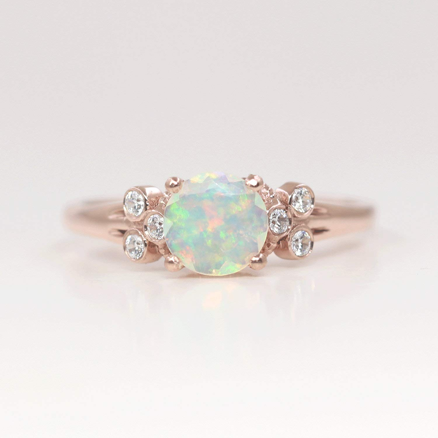 Diamond Cut Natural Opal Engagement Ring,6 mm Opal Diamond Ring,Dainty Opal Diamond Wedding Ring,Diamond Cluster Ring.Natural Rainbow Opal