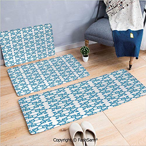 (3 Piece Non Slip Flannel Door Mat Antique Tile with Delicate Royal Floral Details and Squares Baroque Flourish Decorative Indoor Carpet for bath Kitchen(W15.7xL23.6 by W19.6xL31.5 by W19.6xL59))