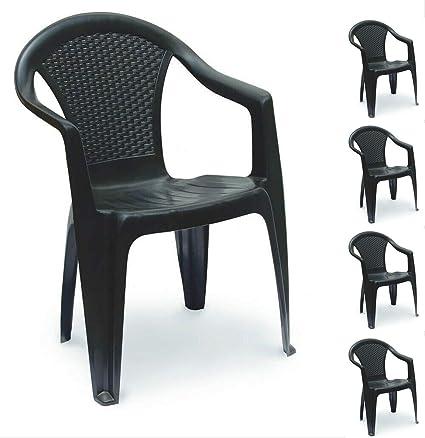 Pour maison restaurant ext/érieur et int/érieur caf/é bistro Style industriel vintage terrasse H JINHUI Lot de 4 chaises de jardin empilables en m/étal bronze mariage