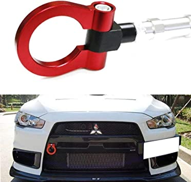 Cuztom Tuning Fits for 2008-2017 Lancer EVO X 10 MR Blue Front//Rear Folding Ring Screw on Style Racing Tow Hook