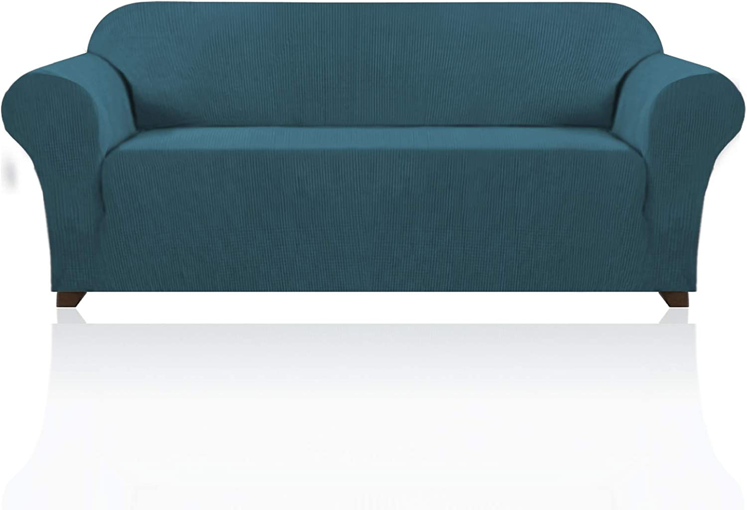 Stretch Sofa Slipcover 1 Piece Sofa Cover for 3 Cushion Couch Furniture Protector/Cover Couch with Elastic Bottom Soft and Durable Sofa Cover Pet Protector (Sofa, Deep Teal)