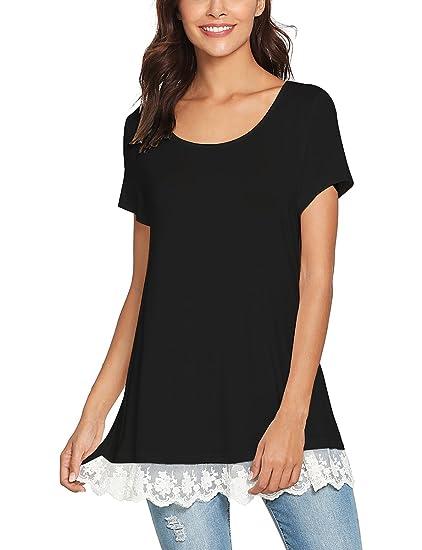 d559ddb490b3 Romwe Women s Lace Trim Hem Short Sleeve Round Neck Flare Loose Tunic  Blouse Tops Black S
