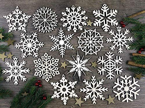 KWUD Pack of 15 Laser Cut Wood Christmas Snowflake Ornaments, Tree Hanging Decorations (Wood Assorted Craft)