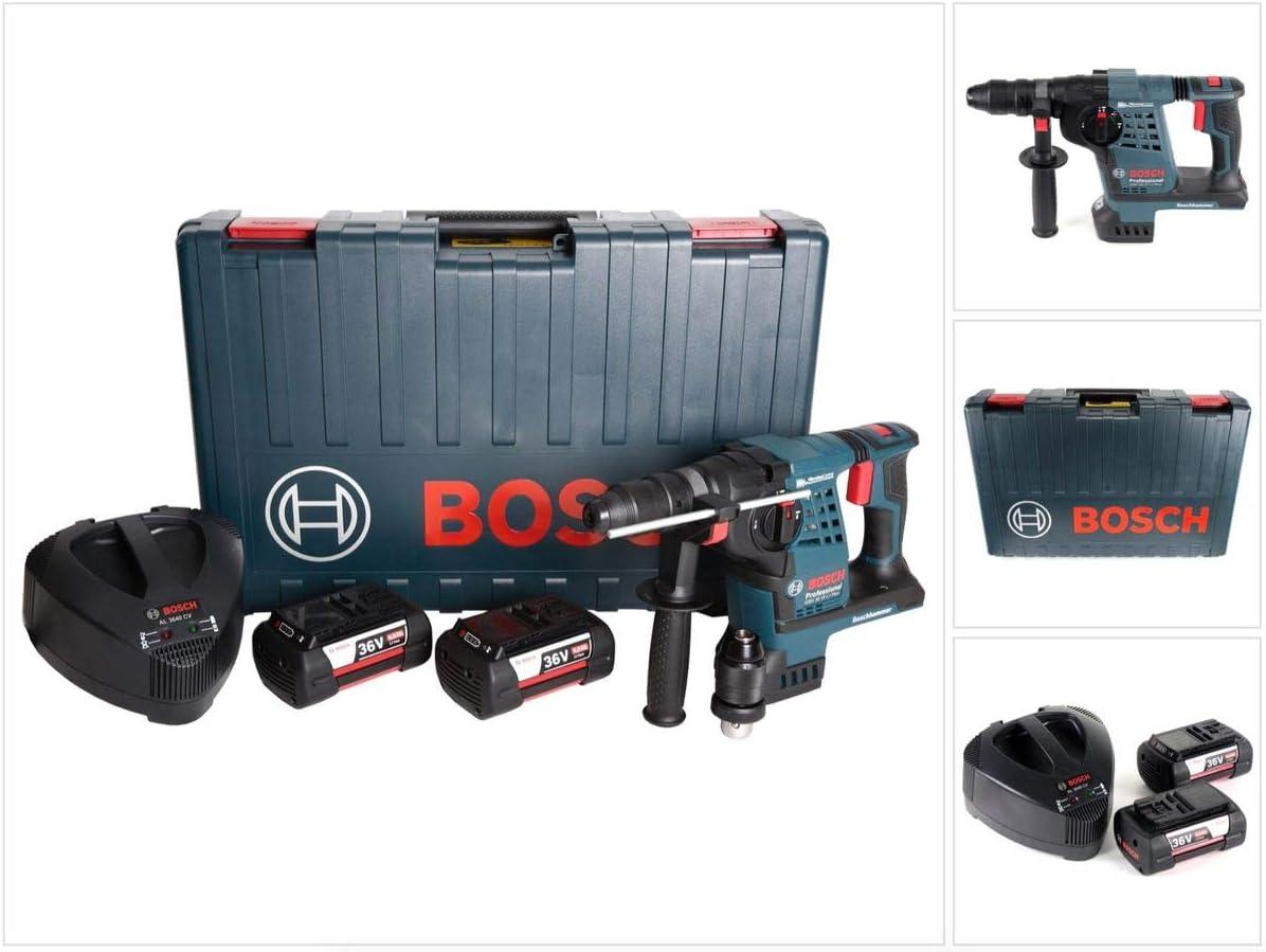 Wechselfutter im Handwerkerkoffer Bosch Akku-Bohrhammer GBH 36 VF-Li PLUS mit Mei/ßelfunktion 2 x Akku 36V 4,0 Ah und Ladeger/ät AL3680CV inkl