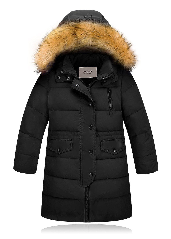 Noir étiquette 120 (Hauteur 105115 cm) ZOEREA Doudoune Enfant Fille Garçon Manteau d'hiver Mi Longue Neige Veste Epaisse Blouson Zipper Parka à Capuche veste