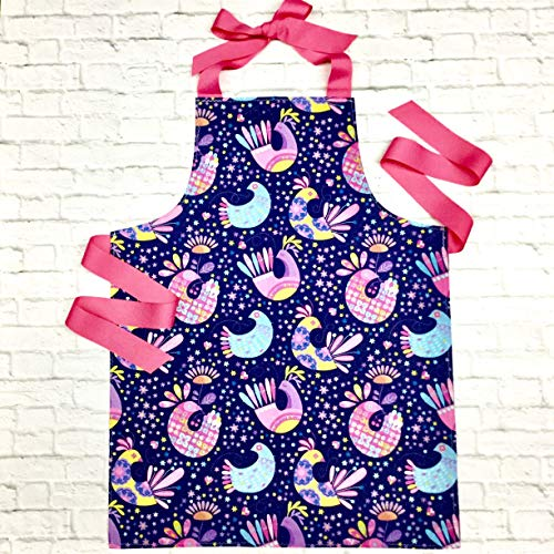 Pink and Blue Colorful Birds Art or Craft Kitchen Apron Gift for Tween Girls from Sara Sews, Inc.