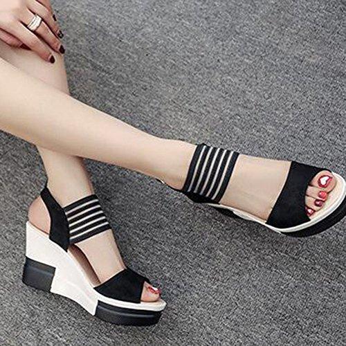 Abierto Las Black De Color De Sandalias De Botón Tobillo Verano Combinación Cuña Puntera De Mujeres De De Plataforma Hebilla De De con De Tacón De Zapatos W6WFRf