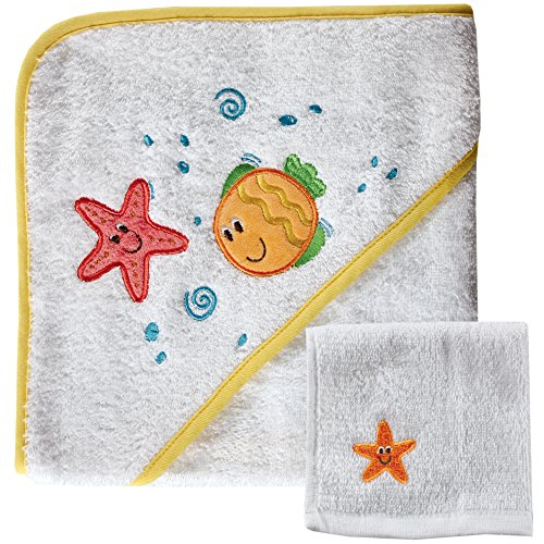 (Luvable Friends Hooded Towel and 5 Washcloth, Yellow Fish )
