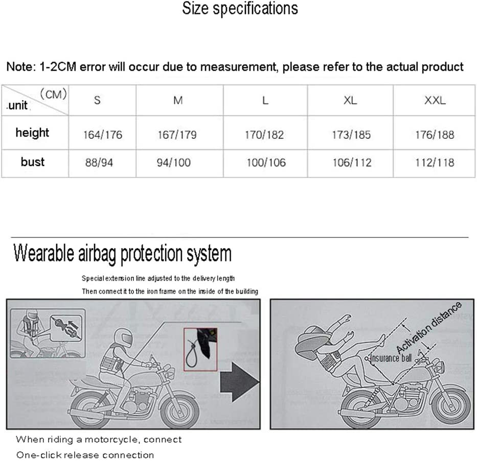 LSSLA Radfahren Warnweste Airbag Weste Abriebfeste Rei/ß ist weich und leicht zu reinigen Motorrad Airbag Weste geeignet f/ür Motorr/äder und Gel/ändefahrzeuge