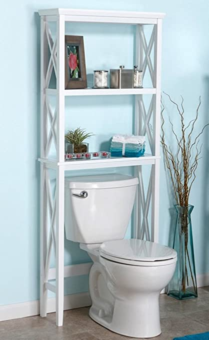 Beau Bathroom Space Saver U0026 Toilet Organizer Furniture W/ Storage Shelves In  White Color