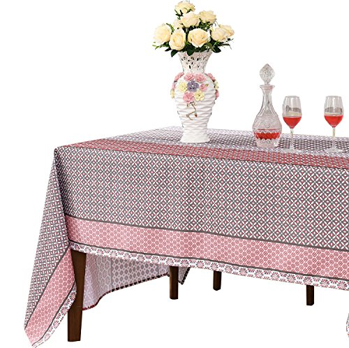JIATER Floral Printed Table Cloth Spillproof Polyester Fabric Rectangle Tablecloths (60 x 104, Red Floral)