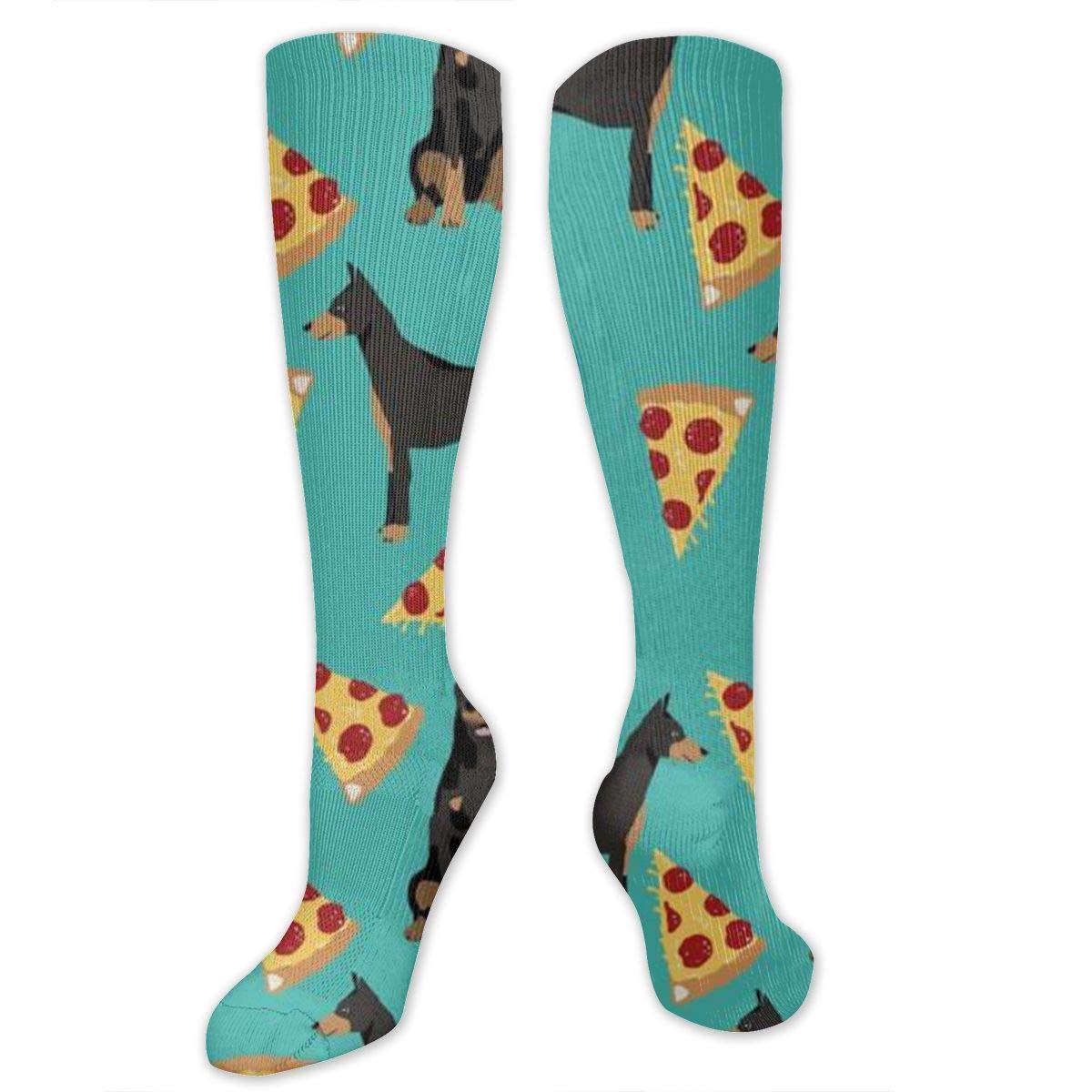 Chanwazibibiliu Doberman Pinscher Turquoise Pizza Mens Colorful Dress Socks Funky Men Multicolored Pattern Fashionable Fun Crew Cotton Socks