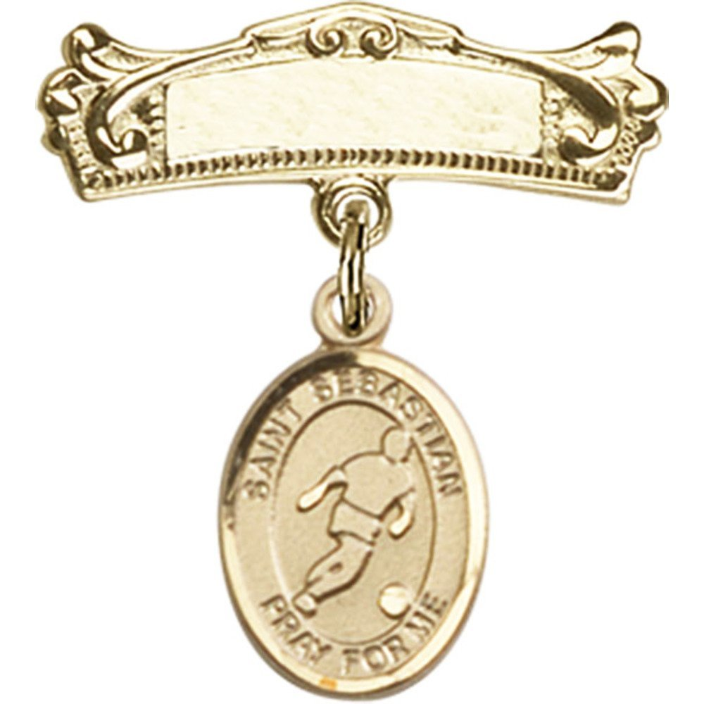 14kt Yellow Gold Baby Badge with St. Sebastian/Soccer Charm and Arched Polished Badge Pin 7/8 X 3/4 inches 61pOfaZoTeL._SL1000_
