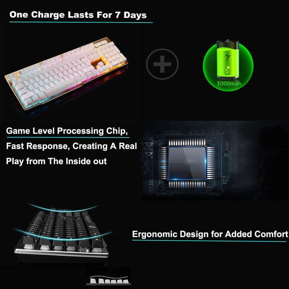 Hoopond Combinaison Clavier et Souris Clavier de Jeu USB Ergonomique avec r/étro/éclairage par LED Blanc Technologie 2.4G sans Fil Rechargeable Souris de Jeu Rechargeable /à 6 Boutons 2400DPI