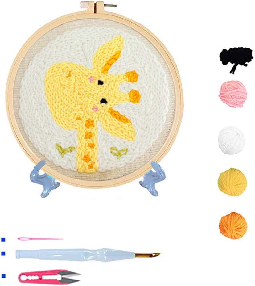 Rug-Punch Hooking Knitting Kit 8 x 8 Inch Beginner Hook Kits with Display Stand Embroidery Pen and Hoop Stosts Sunrise Punch Needle Embroidery Kit
