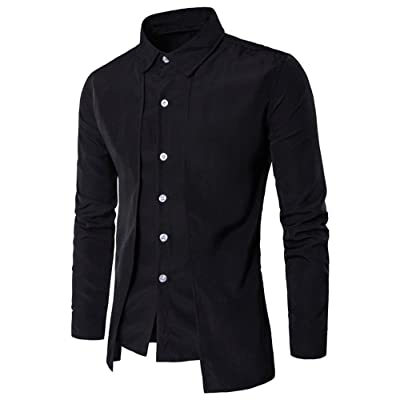 kemilove New Luxury Men Casual Long Sleeve Formal Business Slim Dress Shirt T Shirt: Clothing