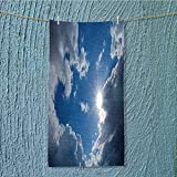 SeptSonne swimmer towel Clear Weather Sky Sun On Sky With Clouds Solar Of Clean Energy Power Gray Blue Moisture Wicking W35.4 x H11.8 INCH