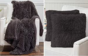 The Connecticut Home Company Shag Throw Blanket and Throw Pillow Case Set of 2, Both in Gray, Sherpa Reversible Blanket is Size 65x50 and Pillow Cases are Size 18x18, 2 Item Bundle