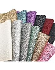 """ZAIONE 8"""" x 12"""" (20cm x 30cm) Leather Sheets s Colorful Multiple Styles Multiple Combinations Multiple Attributes Crafts Fabric Leather Glitter for Shoes Bag Sewing Patchwork DIY Bow Craft Applique"""