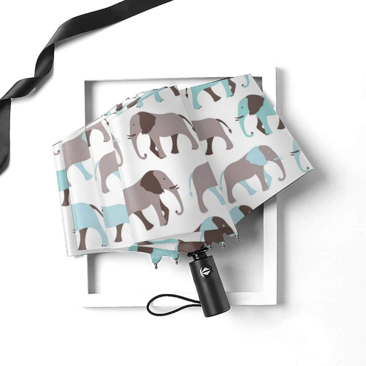 Pattern Of Elephant Automatic Tri-fold Umbrella Folding Rain Umbrell Sunshade
