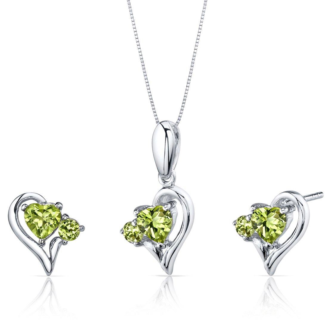 Peora Peridot Pendant Earrings Necklace Sterling Silver Heart Shape 2.25 Carats