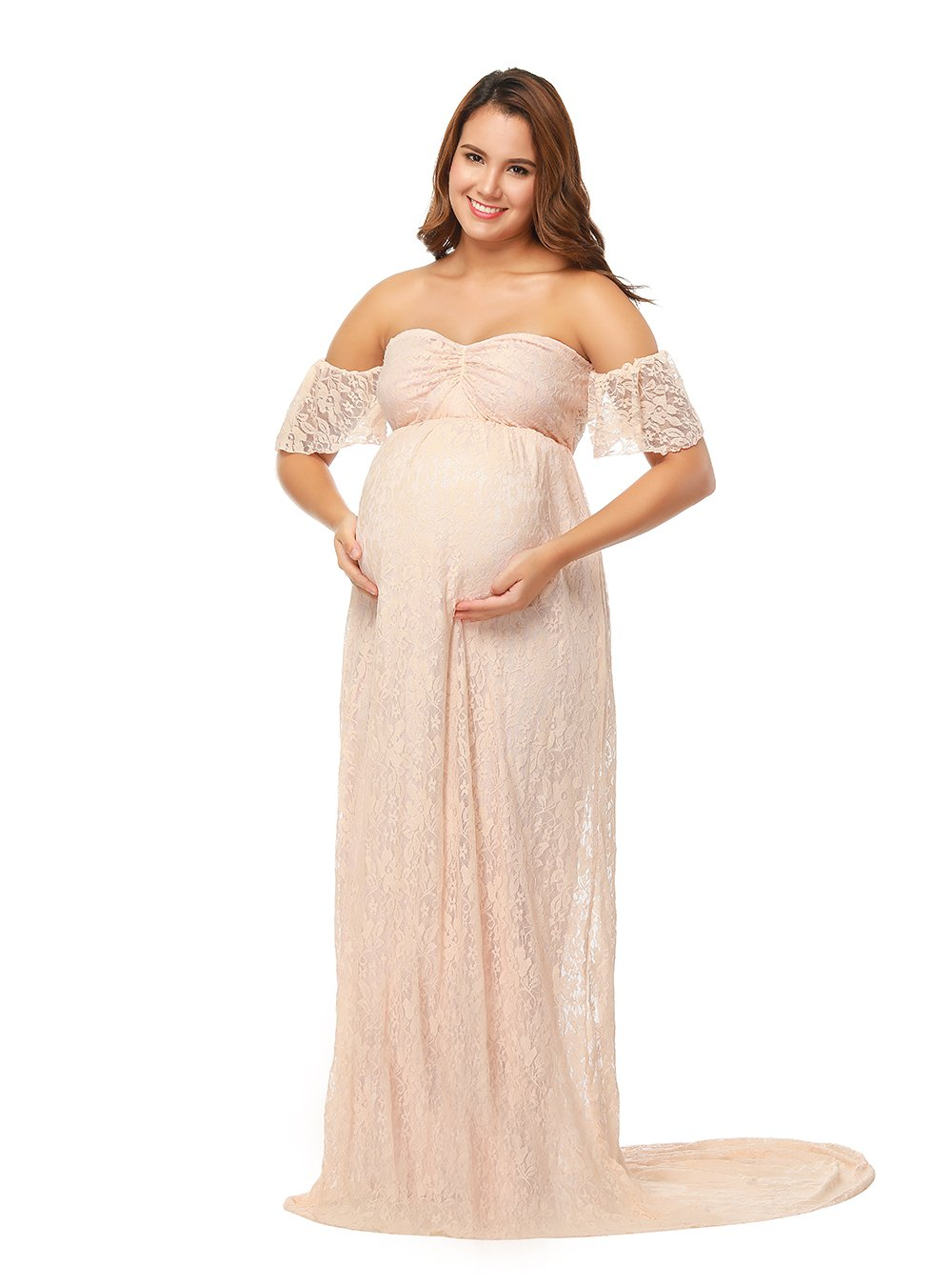 JustVH Women's Off Shoulder Ruffle Sleeve Lace Maternity Gown Maxi Photography Dress,Peach Pink,X-Large