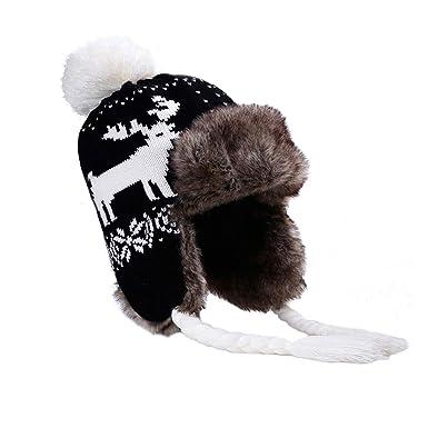 b9143ff8c9e24 Bomber Trapper Hats Women Warm Plush Winter Hat Pompom Faux Fur Wool ...