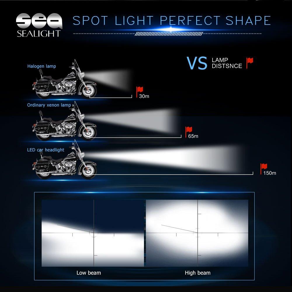 9003 H4 LED Motorcycle Headlights SEALIGHT Hi//Lo Beam CSP Head Replacement Conversion Light Retrofit Kit Headlamp Single Bulb 6000LM 12V HID White 6000K