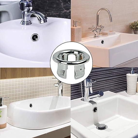 YoungerY Couvercle de trop-Plein d/évier de Robinet de lavabo de Salle de Bains Remplacement de linsert de Bague de Six Pieds en Laiton
