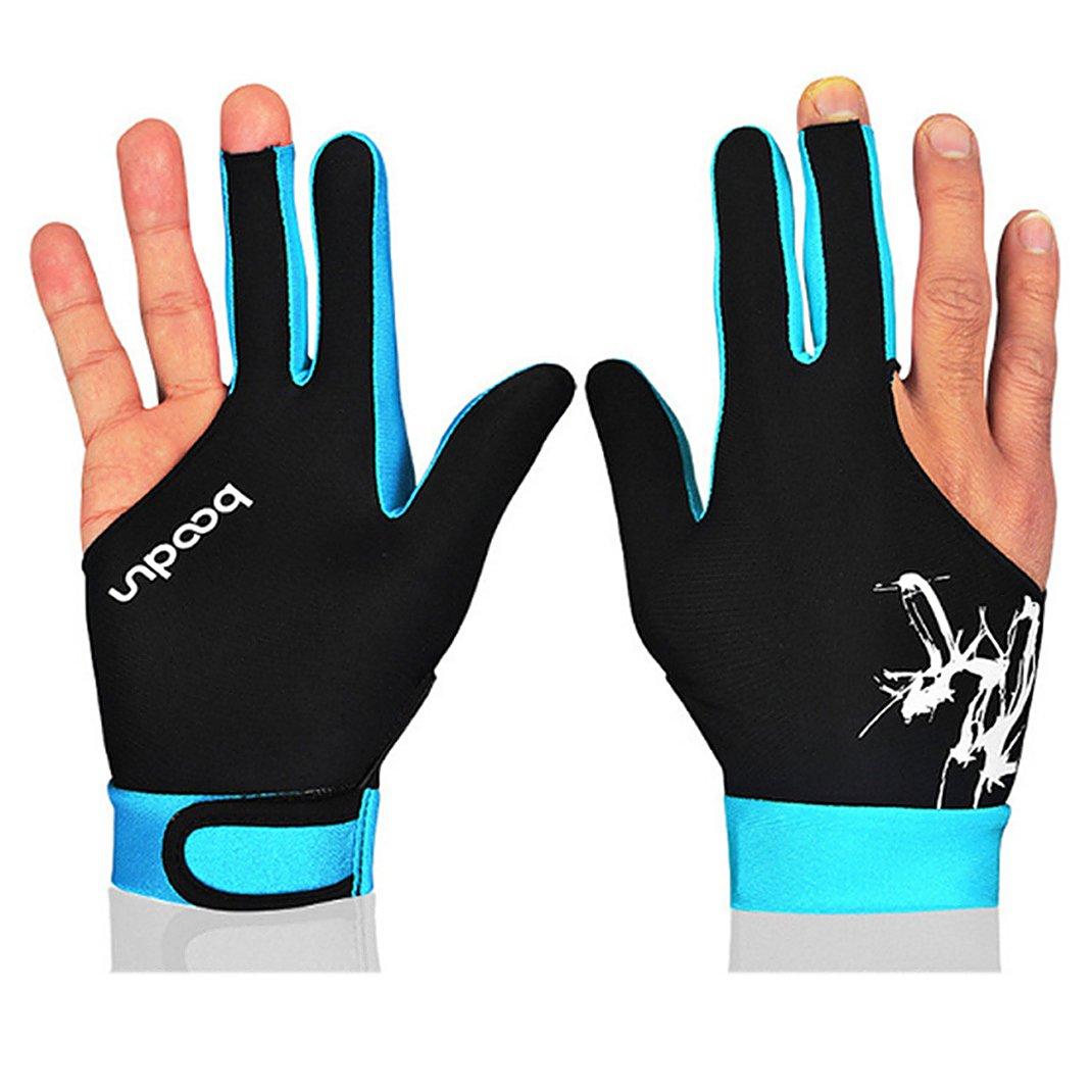 メンズレディースライクラ3指プールキュービリヤード手袋グローブShow手袋のビリヤードShooters Caromプールスヌーカー B075QFSN5C スカイブルー Large