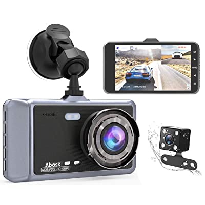 Abask Dual Dash Cam Front and Rear for Cars Dashboard Camera 1080P 4 Inch LCD Screen Driving Recorder 170° Wide Angle with Night Vision WDR G-Sensor Parking Monitor Loop Recording Motion Detector: Car Electronics