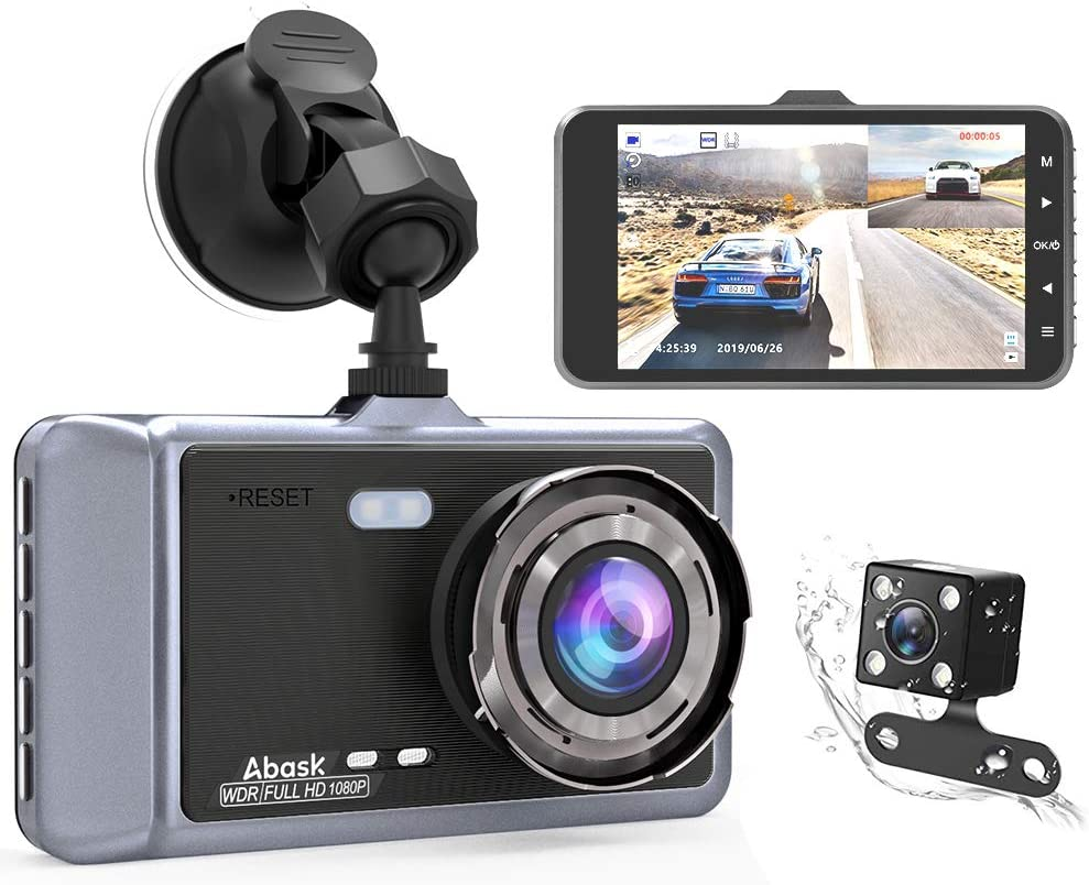Abask Dual Dash Cam Front and Rear for Cars Dashboard Camera 1080P 4 Inch LCD Screen Driving Recorder 170° Wide Angle with Night Vision WDR G-Sensor Parking Monitor Loop Recording Motion Detector