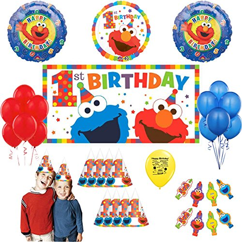 - Sesame Street First Birthday Elmo and Cookie Monster Party Supply Balloon and Photo Prop Selfie Kit