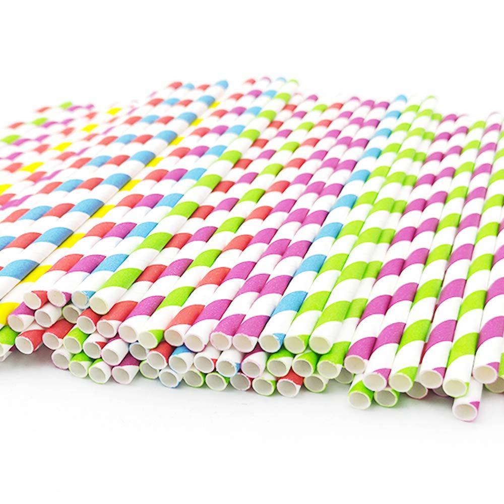 Teknub Paper Straw 150pcs Biodegradable Paper Straws Bulk Environment-friendly Colorful Paper Drinking Straws for Juice,coffee,Soda Wedding,Birthday,Party Supplies