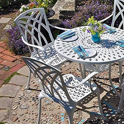 Lazy Susan - Table ronde 90 cm MIA et 2 chaises de jardin - Salon de jardin  en aluminium moulé, Blanc (chaises APRIL)