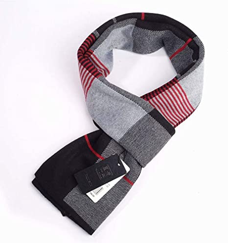 Mens Scarf Winter Knit Plaid Thicken Scarf Gift Long Bib