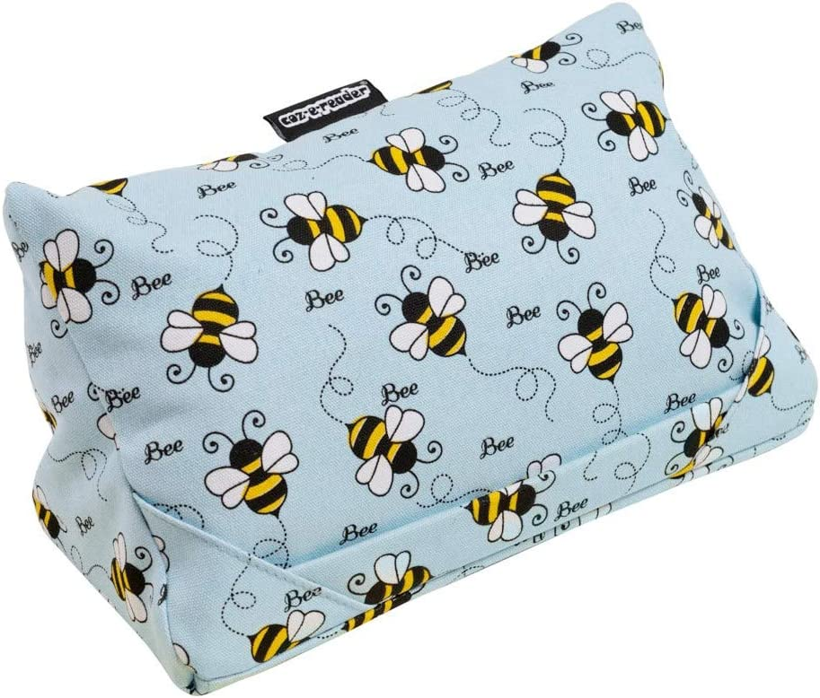 i-Pad Cushion and Tablet Pillow in Bee Print.Two viewing positions for your device.