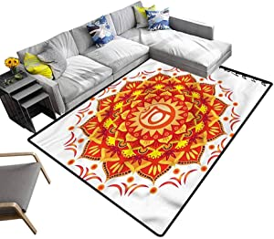 Chakra, Rug Pad Lotus Flower Chakra Centre Hand Woven Rug Stain Resistant & Easy to Clean, 4'x 4'
