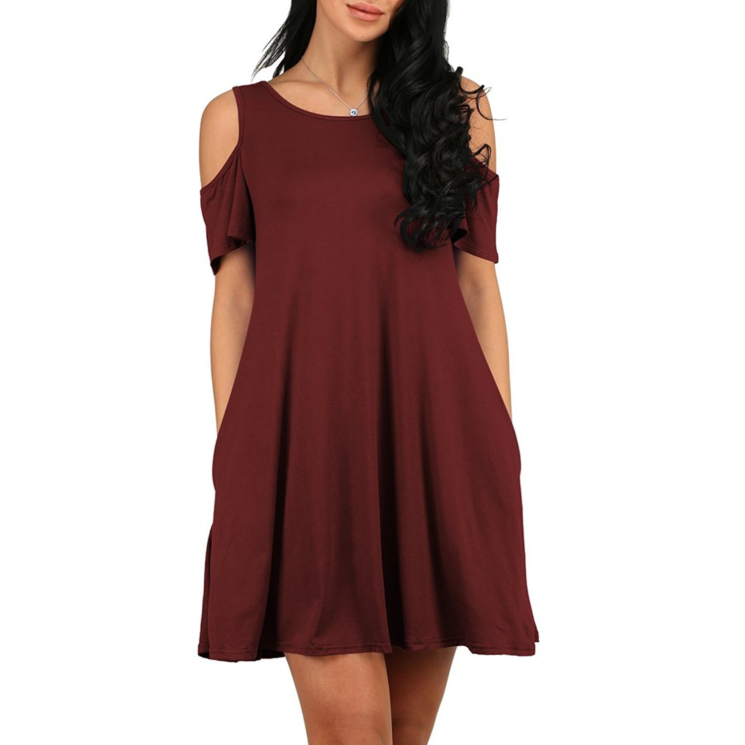 AlohaYM T-Shirt Dresses for Women Casual Summer Dresses Short Sleeve Dress with Pockets Wine XL