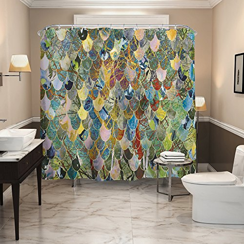 QiyI Shower Curtain Waterproof Machine Washable Made of 100% Polyester Fabric Easy to Rinse Off and Hang for Bathroom 72