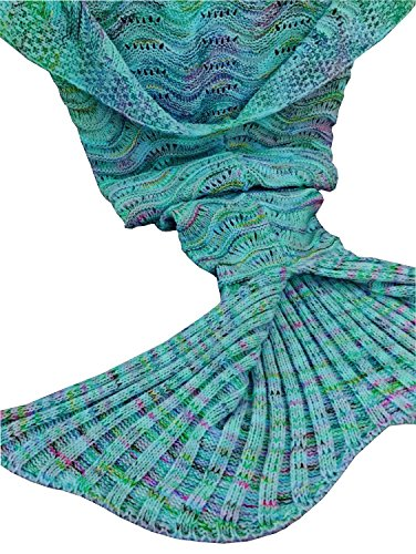 KAZOKU Crochet Mermaid Tail Blanket for Adult, 74-Inch-by-35-Inch, Mint Green