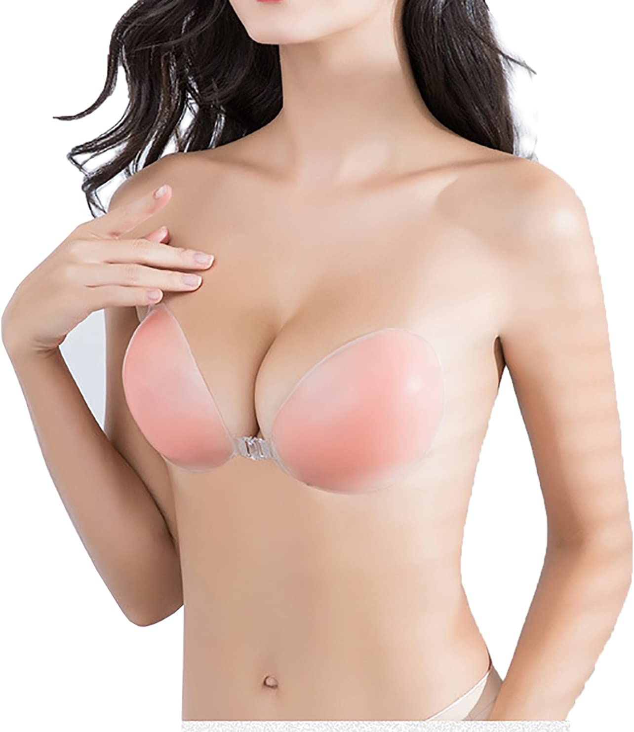 XiaLisi Adhesive Bra Strapless Sticky Invisible Push up Silicone Bra for Backless Dress with of Silicone Nipple Covers Nude, A-Double Thickness