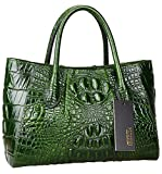 Pijushi Women Embossed Crocodile Bag Designer Top Handle Handbags 5002A (One Size, 5002A Green)