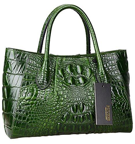 Designer Luxury Handbags (PIJUSHI Women Handbags Crocodile Top Handle Bag Designer Satchel Bags For Women (5002A, Green))