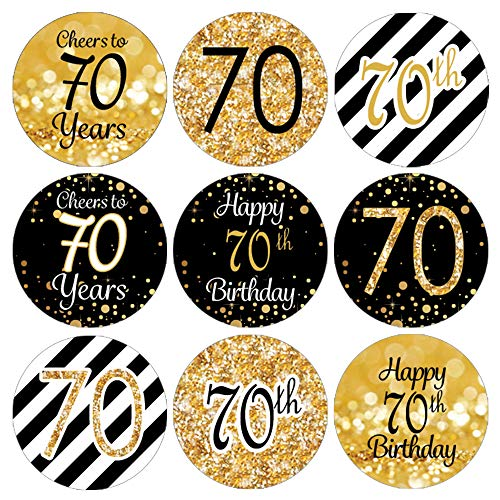 DISTINCTIVS Black and Gold 70th Birthday Party Favor Labels | 180 Stickers