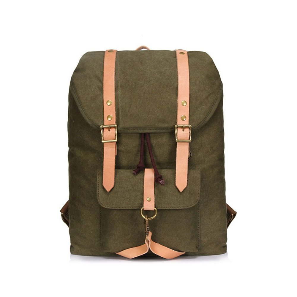Bergsteigen Vintage Männer Frauen Rucksack Daypack Wasserdichte Kordelzug Leinwand Reisetaschen Student Im Freien (Farbe   Armeegrün)