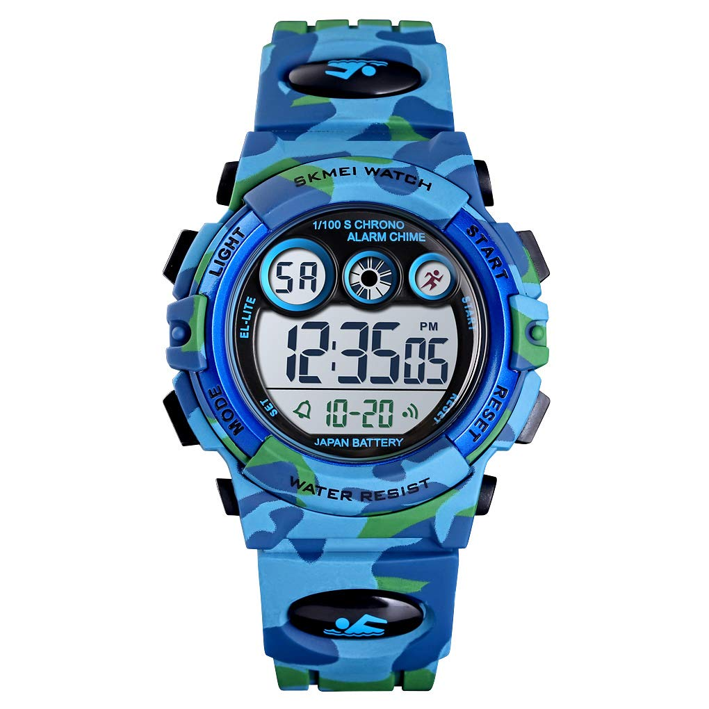 Tonnier Watch Kids Sports Watch Multi Function Digital Watches Colorful LED Display Waterproof Wristwatches for Children with PU Band Blue by Tonnier