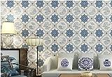 Sproud Classic Blue And White Porcelain Silk Cloth Waterproof Living Room Study Restaurant Restaurant Gray Landscape Wallpaper 150cmX105cm